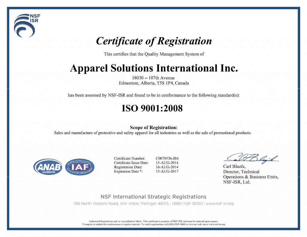 Apparel Solutions International Inc ISO 9001 2008 cert NSF-ISR Canada 140818