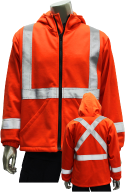 Hi-Vis Modacrylic Hooded Fleece Jacket w/  Tape