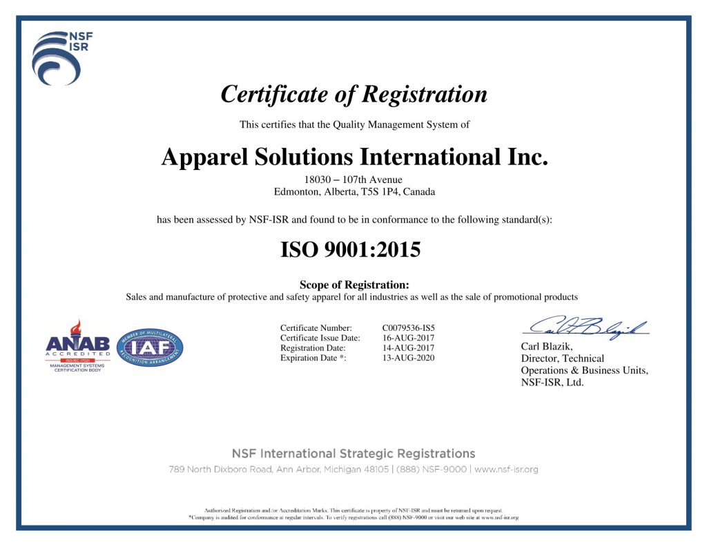 ISO 2015 certificate